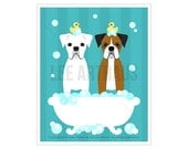 162D Dog Print - White and Brown Boxers in Bubble Bath Wall Art - Mask Boxer Print - Boxer Dog Art - Dog Drawing - Funny Dog Print