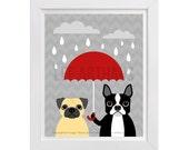 59D Dog Print - Boston Terrier and Pug Dog with Red Umbrella Wall Art - Funny Dog Wall Art - Pug Wall Art - Boston Terrier Art - Pug Print