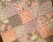Baby Girl Rag Quilt in Grey, Purple and Pink...Owls and Flowers