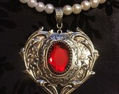 RESERVED For Lorraine - Faux Pearl Beaded Ruby Heart Necklace