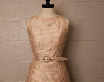 Vintage 1990's Pink Tan Checkered Silk Backless Mini Dress S