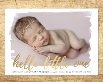 hello little one birth announcement, modern baby  birth announcement, hello baby announcement, printable baby announcement card
