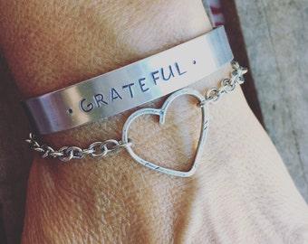 New Aluminum Bangle - Cuff Hand Stamped Bracelet Stamped Grateful Heart w/ Sterling Silver Open Heart Bracelet *SALE*