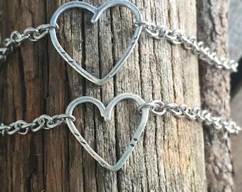 New Open Link, Open Heart  Mommy / Daughter Sterling Silver Bracelet Sweet Mommy Gift