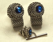 Vintage Blue Rivoli Rhinesone Mesh Wrap Around Cuff Links Cufflinks Tie Tac Set