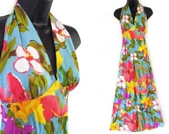 Vintage 70s Blue Floral Print Maxi Halter Dress S M