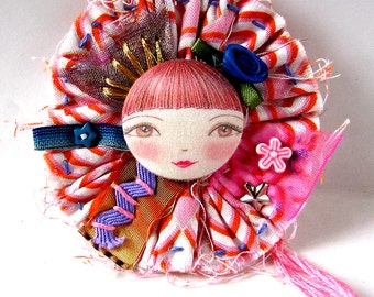 Art Doll Brooch, Button Jewellery, Fabric Brooch, Cute Doll Pin, Unusual Button