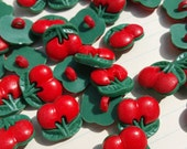 """Cherry Buttons - Red Cherries - Cherry Sewing Shank Loop Snap Button - 1/2"""" 13mm Wide"""