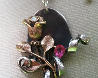 A Rose, One of a Kind, Vintage Repurposed Silver Plate Fork Necklace with a Recycled Vintage Scatter Pin