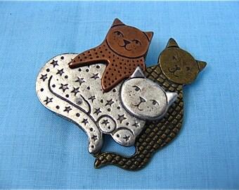 Vintage Tri Color Cat Pin
