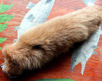 Fox tail - real eco-friendly brown dyed Arctic fox fur totem dance tail on carabiner keychain for shamanic ritual and dance DF04