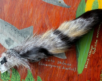Fox tail - real eco-friendly natural gray fox fur totem dance tail on extra strong carabiner keychain GF03