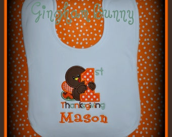 First Thanksgiving BIB, Baby Bib, Turkey Bib, Thanksgiving Bib, Baby Bib, Baby Gift, Baby Shower Gift, Personalized Bib, Monogram Bib,