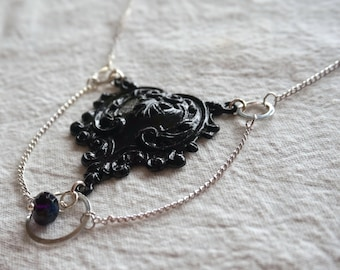 Art Nouveau necklace- black enamel pendant with single midnight blue Czech glass rondelle, silver chain