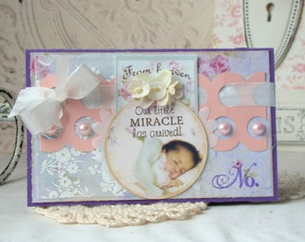 SALE Little Miracle Shabby Chic Handmade Card