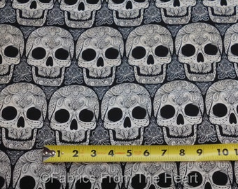 Wicked Skulls w Henna Designs on Black BY YARDS Timeless Treasure Cotton Fabric