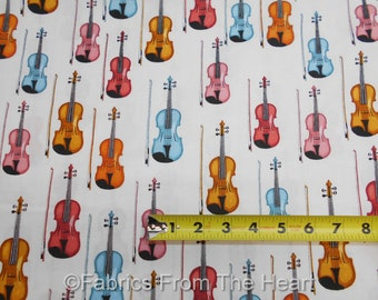 Perfect Pitch Violins Violas Music Instruments on Ivory BY YDS RJR Cotton Fabric