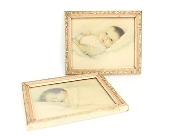 Super sweet baby petite drawings . Perfect for the nursery . Cute 1930s - 1940s art in original vintage frames . Great baby shower gift