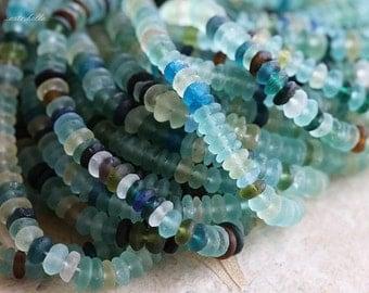 ANCIENT ROMAN GLASS No. 160 .. Genuine Antique Roman Glass Rondelle Beads (rg-160)
