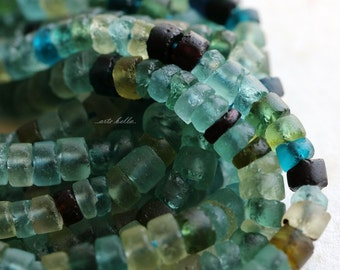 ANCIENT ROMAN GLASS No. 158 .. Genuine Antique Roman Glass Heishi Tube Beads (rg-158)