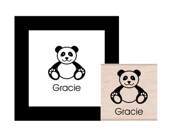 Panda Personalized Rubber Stamp