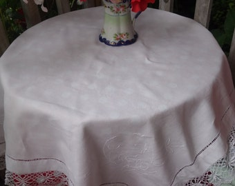 beautiful  crisp handmade lace edged whitework tablecloth42x44 inches