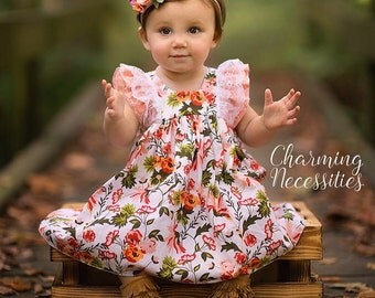Baby Girl Clothes, Toddler Girl Clothes, Coral Cream Green Double Flutter Sleeve Vintage Dress Fall Back to School, by Charming Necessities