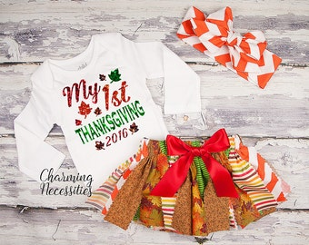 Fall Thanksgiving Outfit, Baby Toddler Girl Clothes, Sparkle Glitter Top and Shabby Tutu Skirt Set 1st Thanksgiving by Charming Necessities