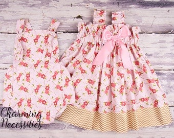 Big Sister Little Sister Outfits, Sibling Outfits , Girls Ruffled Sundress and Baby Romper Sunsuit in Enchanted Posies Baby Shower Gift