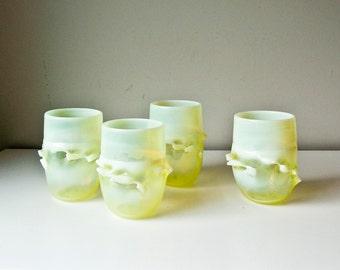 4 Modern Vaseline Glasses Vases Artist Signed