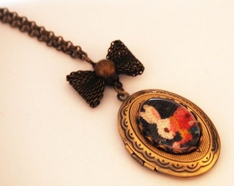 ON SALE Alice in Wonderland White Rabbit Cameo Locket - Antique Brass Formal EGL Kawaii