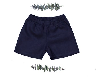Linen kids shorts navy