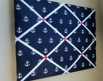 """16""""x20"""" French Memory Board, Bow Holder, Bow Board, Vision Board, Photography Display, Ribbon Board, Navy, White, Red, Anchor Memo Board"""