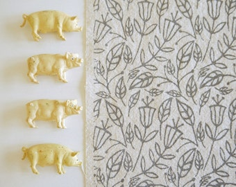 Fall - screen printed fabric - chalky colours