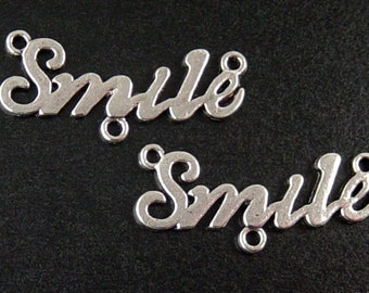 CLEARANCE Jewelry Connectors 12 WORD Silver Smile 3-Ring 35mm (1039con35m1-12)os