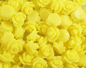 Cabochon Flower 20 Resin Round Rose Yellow Flower 10mm (1017cab10m8-12)
