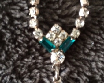 Vintage clear rhinestone choker with blue accents