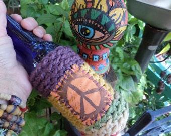 Hippie Festival, beer cooler, can cooler, bottle cooler, Beer holder, Cheers,  D21, Hippie peace, hippie crochet, boho beer, crochet beer