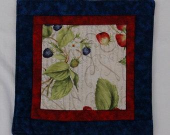 Summer Berries Mug Rug Coaster or Mini Quilt 2 Blackberry Strawberry