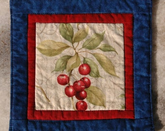 Summer Berries Mug Rug Coaster or Mini Quilt #6 Cherry