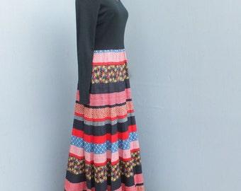 Vintage 70s Miss Elliette Maxi Dress, Midi Dress, Boho, Hippie, Gypsy, Patchwork Full Skirt Dress