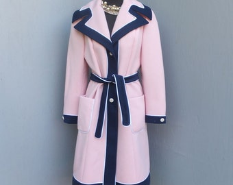 Vintage 70s Lilli Ann Coat, Pink and Navy Blue Knit Coat, Stroller Length, Car Coat, Lilli Ann Knit