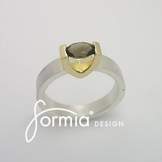 Engagement ring silver/gold with smoky quartz