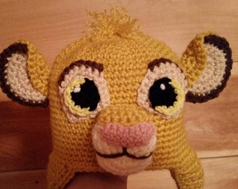 Crocheted Lion Cub Hat - Baby, Toddler, Child, Teen and Adult Sizes