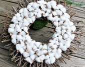 Cotton Wreath - Front Door Wreath - Cotton Boll Wreath - Preserved Cotton - Farmhouse Decor - Twig Wreath - Year Round Wreath