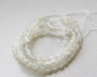 One Strand (15.5 Inches) Transparent White Agate Stone - Round 4mm (17)