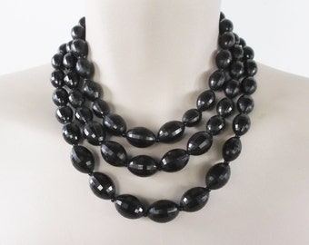 50s 60s Vintage Multi Strand Beaded Necklace with Black Melon Shaped Beads