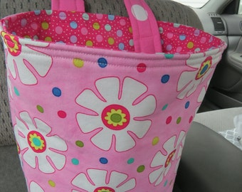 Trash Bin, Car Trash Bag, Cute Car Accessories, Headrest Bag, Trash Container, Flowers on Pink