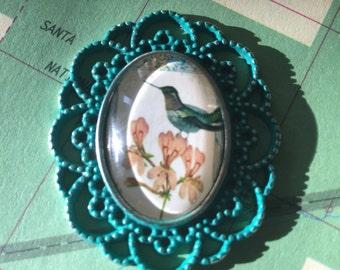 Bird pendant, green mixed media glass pendant, floral pendant