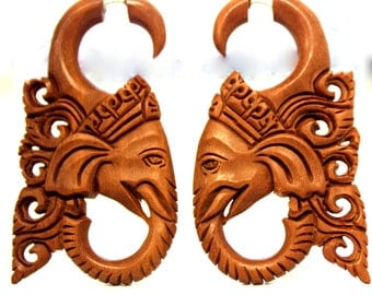 Fake Gauge Earrings Good Luck Elephant Wood Organic  Tribal style  Expander Split hand carved fake piercings organic